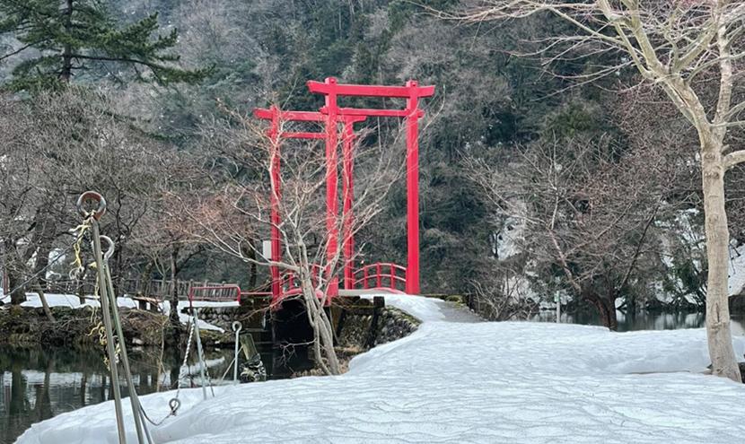 庄川水記念公園の遊歩道。よく見える網戸(快適ネット)で冬の公園めぐり。スッキリ見える快適ネットなら三恵ネット。