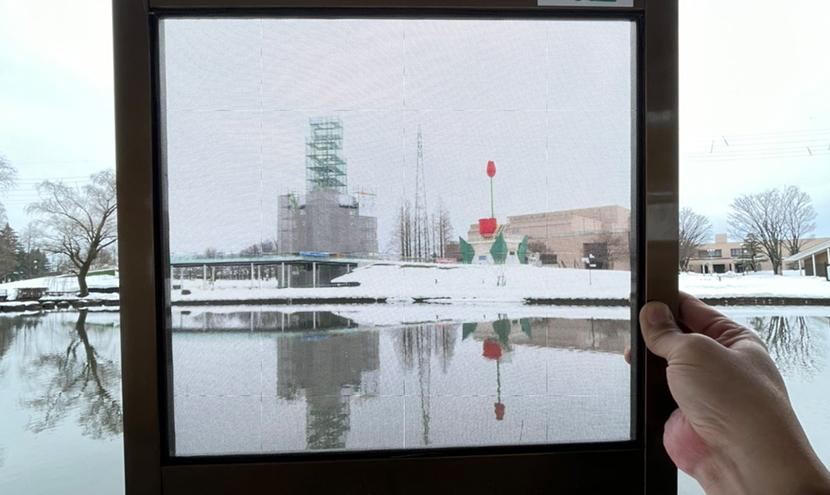 砺波チューリップ公園のチューリップタワー。よく見える網戸(快適ネット)で冬の公園めぐり。スッキリ見える快適ネットなら三恵ネット。